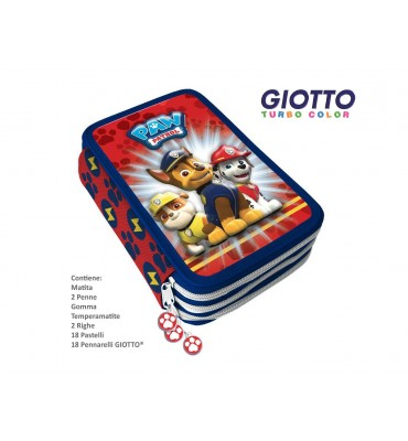 Astuccio 3 Zip Paw Patrol contenuto Giotto