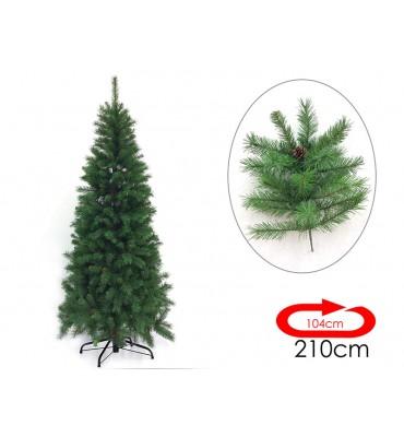Albero Di Natale Modello Cervino con pigne Colore Verde (210 cm)