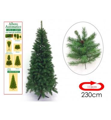 Albero Di Natale Modello Cervino AUTOMATICO con pigne Colore Verde (230 cm)